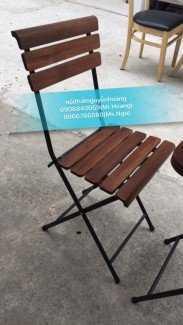 Ghế xếp gỗ, khung sắt