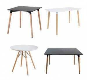 Mẫu bàn nhựa, chân gỗ