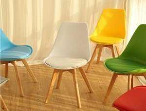 Ghế nhựa chân gỗ cho văn phòng