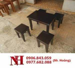 Bàn ghế gỗ cafe mini, 1 bàn 4 ghế nhỏ