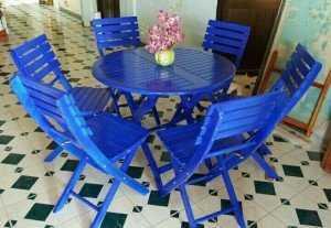 Bộ bàn ghế gỗ xếp kinh doanh cafe, bàn tròn.