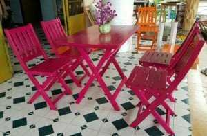 Bộ bàn ghế gỗ xếp kinh doanh cafe, bàn mặt phẳng