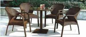 Bàn ghế cafe nhựa giả mây, bàn vuông, mặt kính