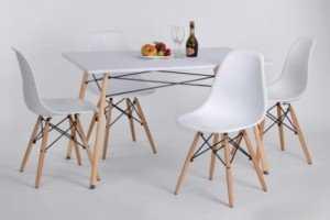 Bộ bàn ghế cafe nhựa đúc, chân gỗ dành cho văn phòng, phòng ăn