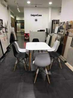 Bộ bàn ghế nhựa đúc, chân gỗ cho phòng ăn,...