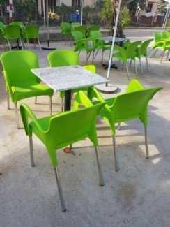 Bộ bàn ghế cafe, chân inox