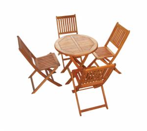 Bộ bàn ghế gỗ cafe năm nan dọc