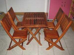 Bộ bàn ghế gỗ xếp cafe vỉa hè