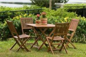 Bộ bàn ghế cafe gỗ xếp cho cafe sân vườn