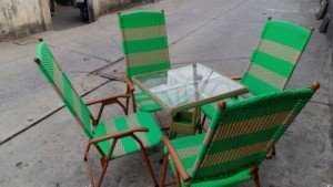 Bộ bàn ghế cafe nhựa giả mây, có thể xếp lại