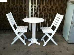 Bộ bàn ghế cafe gỗ trắng, bàn tròn