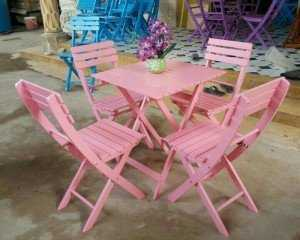 Bộ bàn ghế gỗ xếp, màu hồng nhẹ nhàng, vận chuyển miễn phí số lượng