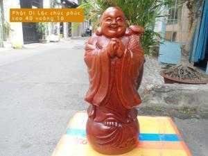 Tượng Phật Di Lặc chúc phúc gỗ hương - PTP23