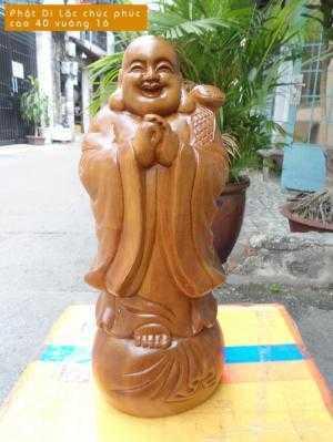 Tượng Phật Di Lặc chúc phúc gỗ bách xanh - TPT24