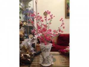Hoa đào pha lê lọ composit thiên thần, bày phòng khách ngày Tết, cao 60m