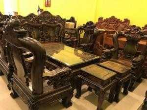 Bộ bàn ghế mun sọc cột 15 10 món chạm Kỳ Lân-BBG198