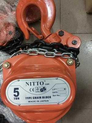 Pa lăng xích kéo tay 5T5M Nitto Nhật Bản