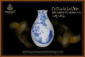 Bình hoa gốm sứ Minh Long I Cá chép cobalt 25cm