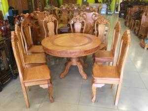 Bộ bàn ăn, bàn tròn 8 ghế kiểu dáng sang trọng