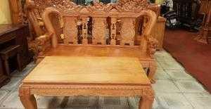 Bộ bàn ghế chạm lân gỗ gõ đỏ tay 12 - BBG75