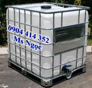 Tank nhựa 1 khối đựng hóa chất, bồn vuông 1000 lít đựng hóa chất , thùng nhựa ibc 1000 lít axit có khung