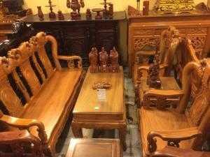 Bộ bàn ghế gỗ gõ đỏ chạm đào đẹp , cột 10 6 món-BBG263