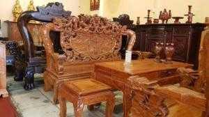 Bộ ghế cửu long hóa trúc gỗ hương cột 12, 6 món- BBG90
