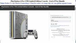 Nhận order PlayStation 4 Pro 1TB Limited Edition Console - God of War Bundle