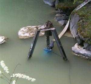 Bơm bùn thả chìm KRS2-80, máy bơm hố móng Tsurumi 4kw có cánh khuấy