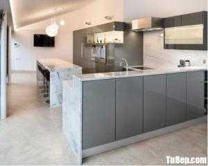 Tủ bếp gỗ Acrylic màu xám sang trọng – TBT98