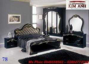 Bộ giường ngủ cổ điển màu đen ms GCĐ_78  - vẻ đẹp sang trọng, đẳng cấp đẹp lạ