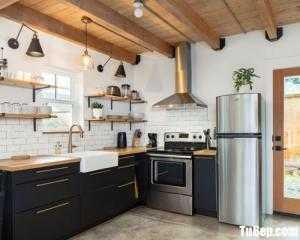 Tủ bếp gỗ Laminate thiết kế đơn giản chữ L – TBT101