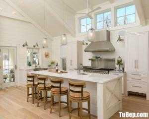 Tủ bếp gỗ Căm Xe thiết kế bán cổ điển chữ L – TBT