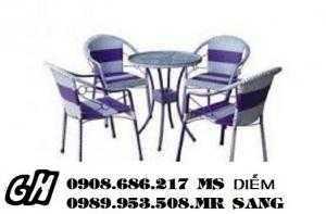 Bàn ghế cafe mây nhựa giá siêu rẻhgh028