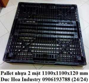 Pallet nhựa 2 mặt 1100x1100x120 mm - Duc Hoa Industry