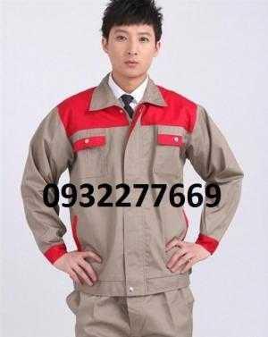 Quần áo bảo hộ phối màu đỏ ghi túi hộp ba117