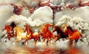 Tranh ngựa- Gạch tranh mã đáo thành công