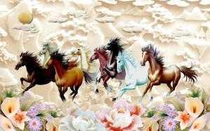 Tranh ngựa- Gạch tranh 3D mã đáo thành công