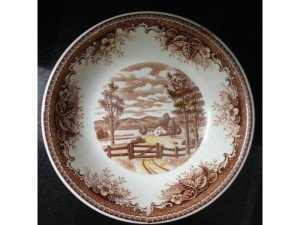 Đĩa sứ xưa phong cảnh châu Âu đk 19cm
