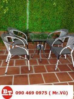 Bàn ghế cafe giả mây KT22