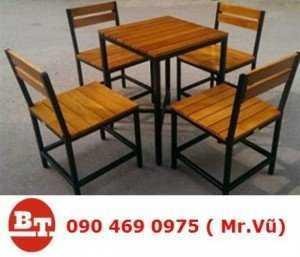 Bàn ghế gỗ cafe KT 824