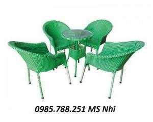 Bộ bàn ghế mây nhựa quán cafe sân vườn giá rẻ