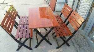 Bàn ghế gỗ chân sắt xếp giá rẻ nhất