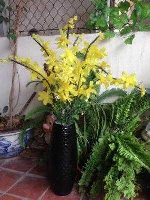 Bình hoa lan pha lê màu vàng Cao: 90cm
