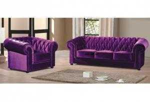 Sofa cổ điển nhung tím HT01
