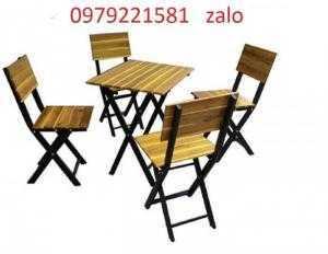 Bàn ghế gỗ chân sắt cần bán gấp