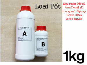 Keo đổ tem Decal 3D Resin dẻo Epoxy Resin Ultra Clear RDAB 1kg  - MSN388342
