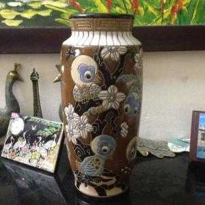 Bình sứ Biên Hoà xưa hình bầy chim hót líu lo, cao 24,5cm