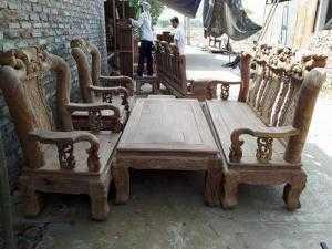 Bộ bàn ghế phòng khách trạm chim đào gỗ hương vân