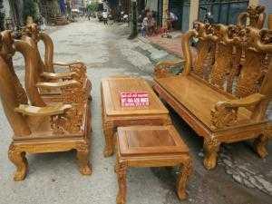 Bộ bàn ghế giả cổ trạm tứ linh gỗ lim